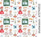 beautiful seamless pattern with ... | Shutterstock . vector #672743512