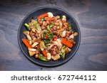 korean food   teriyaki chicken    Shutterstock . vector #672744112