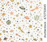 space flat pattern  vector...   Shutterstock .eps vector #672753445