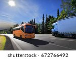 truck transportation and bus | Shutterstock . vector #672766492