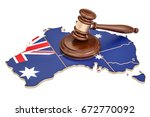 Wooden Gavel On Map Of...