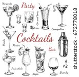 set of sketch cocktails and... | Shutterstock .eps vector #672778018