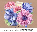 postcard  hand drawn watercolor ... | Shutterstock . vector #672779908