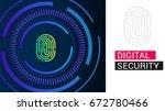 biometric fingerprint scan...   Shutterstock .eps vector #672780466