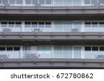 terraces of a building with... | Shutterstock . vector #672780862