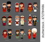 people in national dress.... | Shutterstock .eps vector #672784486
