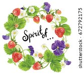 vector strawberry and pansies... | Shutterstock .eps vector #672792175