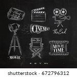 cinema symbols ticket ... | Shutterstock .eps vector #672796312