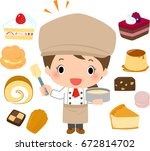 a pastry chef and many... | Shutterstock .eps vector #672814702