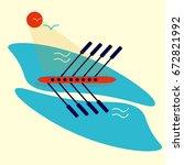 rowing race or regatta... | Shutterstock .eps vector #672821992