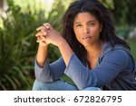 pretty african american woman... | Shutterstock . vector #672826795
