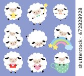 vector illustration of cute... | Shutterstock .eps vector #672828928