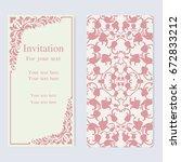 vintage invitation and wedding... | Shutterstock .eps vector #672833212