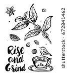 rise and shine coffee poster | Shutterstock .eps vector #672841462