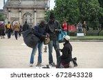 paris  france  april 26 ... | Shutterstock . vector #672843328