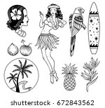 tropical exotic sea vector set. ... | Shutterstock .eps vector #672843562