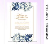 romantic invitation. wedding ... | Shutterstock .eps vector #672847516
