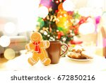 cup of drink with tasty... | Shutterstock . vector #672850216
