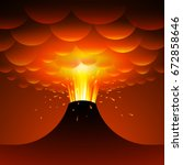 volcano eruption. vector... | Shutterstock .eps vector #672858646