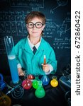 smart boy scientist making... | Shutterstock . vector #672860422