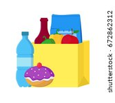 cartoon color food paper bag... | Shutterstock .eps vector #672862312