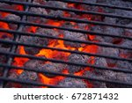 Burning Charcoal On A Grill