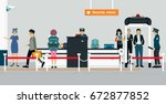 security checkpoint officers... | Shutterstock .eps vector #672877852