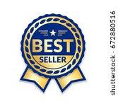 ribbon award best seller. gold... | Shutterstock .eps vector #672880516
