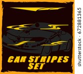 tribal and cool car stripe set... | Shutterstock .eps vector #672881365