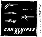 tribal and cool car stripe set... | Shutterstock .eps vector #672882565