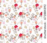 ditsy seamless floral pattern... | Shutterstock .eps vector #672884392