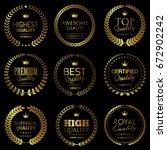 quality themed golden badges   Shutterstock .eps vector #672902242