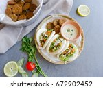 homemade middle eastern cuisine ...   Shutterstock . vector #672902452