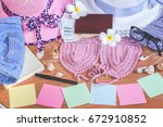 summer concept background with... | Shutterstock . vector #672910852