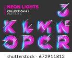 vector neon character typeset.... | Shutterstock .eps vector #672911812