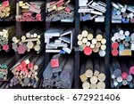 wood and steel on shelves... | Shutterstock . vector #672921406