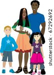 Raster version illustration of Family number 6 Isolated. Foster care or Adoption. - stock photo