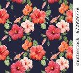 watercolor tropical flower... | Shutterstock . vector #672929776
