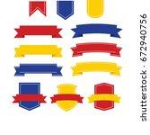 ribbon vector icon set on white ... | Shutterstock .eps vector #672940756