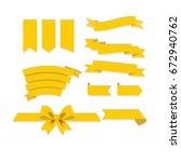 flat vector ribbons banners...   Shutterstock .eps vector #672940762