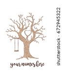 brown wedding wish tree with... | Shutterstock .eps vector #672945322