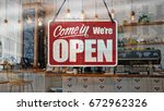 a business sign that says  come ... | Shutterstock . vector #672962326