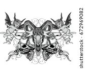 gothic coat of arms with skull  ... | Shutterstock .eps vector #672969082