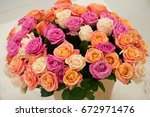 large bouquet of pink  white ... | Shutterstock . vector #672971476