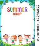 summer poster kids child baby... | Shutterstock .eps vector #672982822
