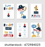 set of cute creative card... | Shutterstock .eps vector #672984025