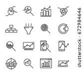 set of 16 data analysis thin... | Shutterstock .eps vector #672984646