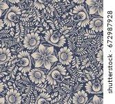 seamless background baroque... | Shutterstock .eps vector #672987928