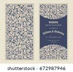 wedding invitation cards ...   Shutterstock .eps vector #672987946