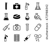 drug icons set. set of 16 drug... | Shutterstock .eps vector #672988342